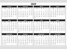 Blank Printable Calendar Pages 2019 Templates Free