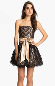 jessica mcclintock strapless lace tulle dress size