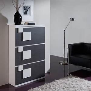Meuble Chaussure Design : meuble chaussures blanc noyer squadra univers petits meubles ~ Teatrodelosmanantiales.com Idées de Décoration