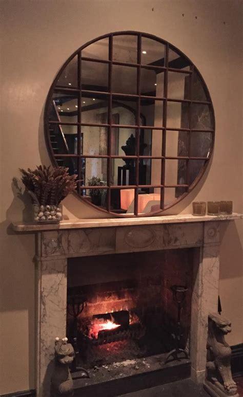 panelled industrial circular window mirror antique