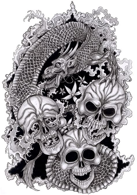 fantasy art chinese dragon  skulls  tjiggo  epilogue