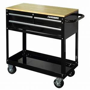 Husky 36 in 3-Drawer Rolling Tool Cart with Wood Top