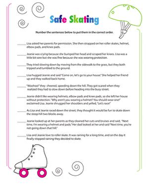 sequencing worksheets 3rd grade story sequencing roller skating worksheet education