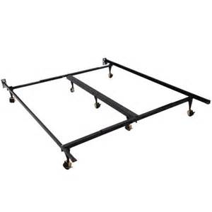homcom 7 leg adjustable metal bed frame w rollers fits