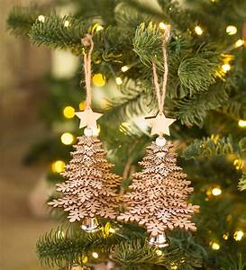 Wooden, Christmas, Tree, Ornaments, Set, Of, 2