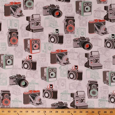 cotton cameras digital camera photography photographer vintage retro  cheese cotton fabric