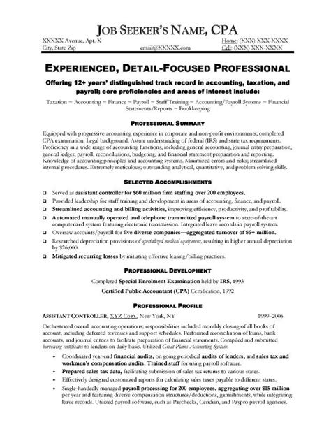 Cpa Resume Tips by Accounting Resume Template Writing Resume Sle Writing Resume Sle