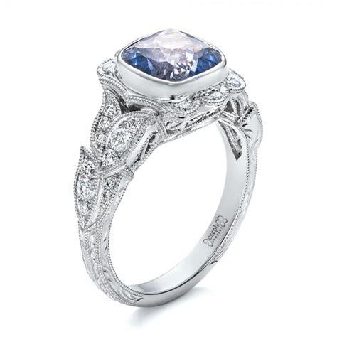 light blue ring custom light blue sapphire and engagement ring