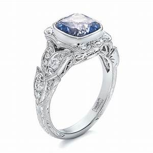 custom light blue sapphire and diamond engagement ring 102135 With light blue wedding ring