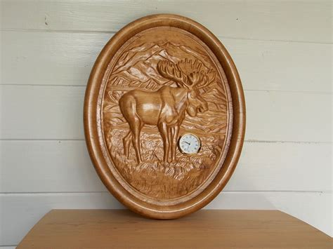 Wood Carvings For Sale Wood Clock Moose Sale Clearance Wood