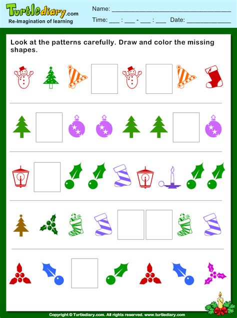 christmas pattern draw  color missing shapes worksheet