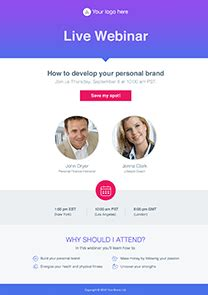 webinar invite pages  getresponse