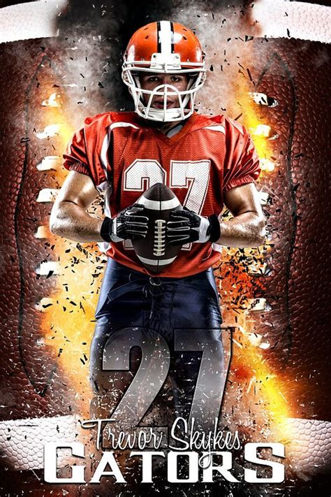 player banner photo template football inferno sports