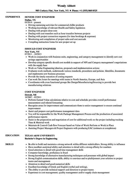 My Resume Cost by Cost Engineer Resume Sles Velvet