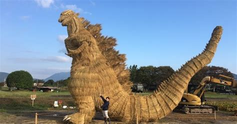 meter tall straw godzilla   display  fukuoka