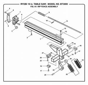 Ryobi Bt3000 10 U0026quot  Table Saw Parts And Accessories