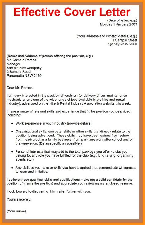 Effective Cover Letter by Tips To A Cover Letter 100 No Cost Specialist