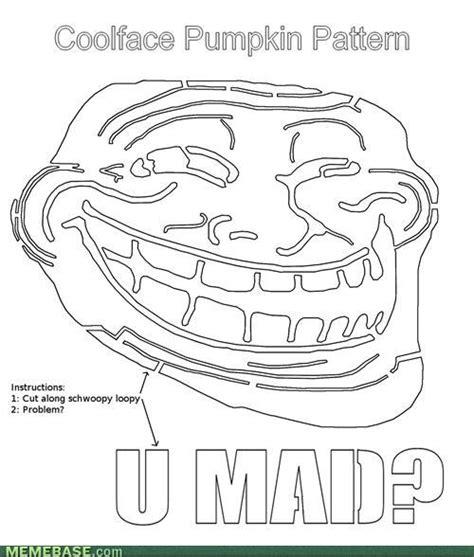 Meme Pumpkin Stencil - image 187371 trollface coolface problem know your meme