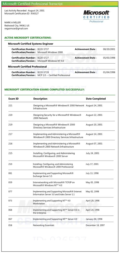 Mcse Certification Resume by 139 Best My Resume Images On