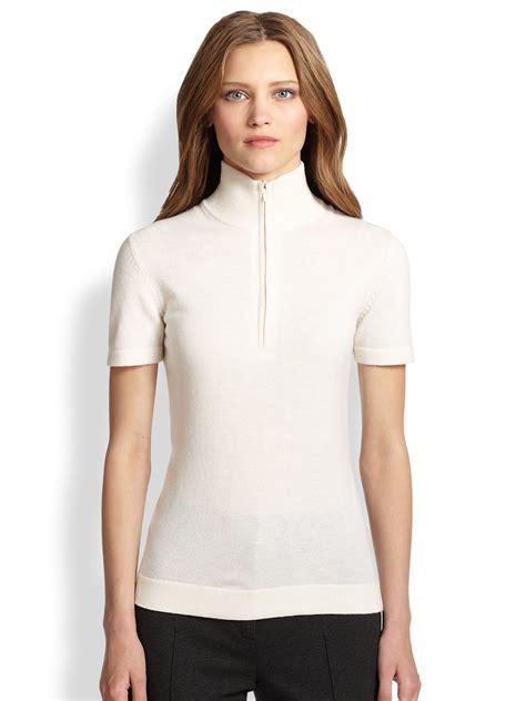 zip front sweater akris punto wool zip front sweater in white