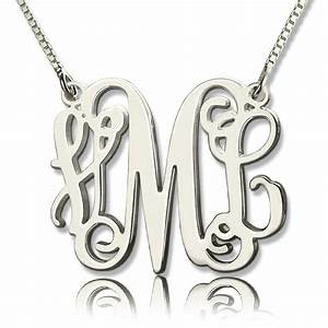 personalized monogram initial necklace sterling silver With monogram letter necklace