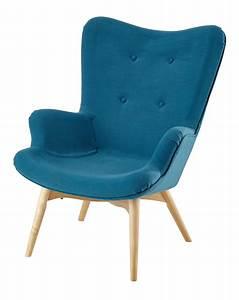 Fauteuil Bleu Scandinave : fauteuil scandinave bleu p trole tissu bleu bleu p trole et fauteuil vintage ~ Teatrodelosmanantiales.com Idées de Décoration