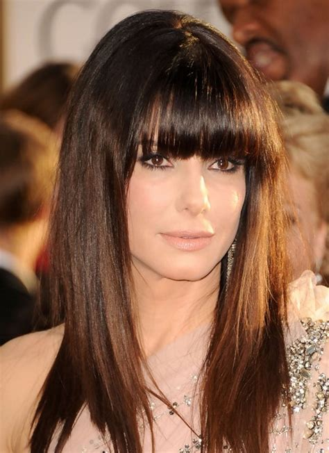 sandra bullock long hairstyle straight hair with blunt