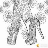 Coloring Pages Shoes Adults Heel Mandala sketch template