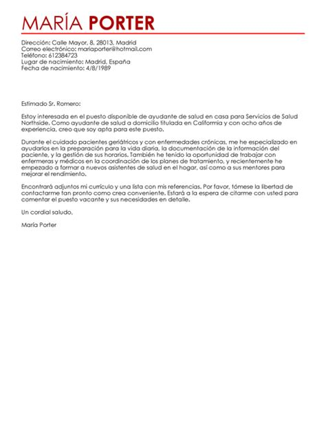 foto de Modelo de Carta de Presentación Auxiliar de La Salud A