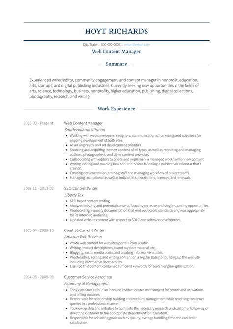 Resume Content by Web Content Manager Resume Sles Templates Visualcv