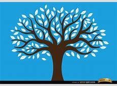Árbol dibujado con hojas blancas Descargar vector