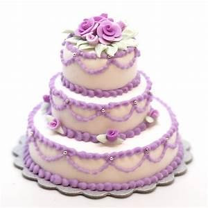 Minature Triple Layer Cake w/lavender roses Stewart