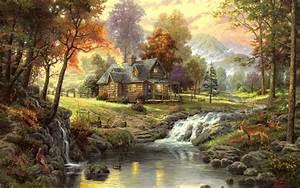 thomas, kinkade, , paintings, , nature, , landscapes, , trees, , autumn, , fall, , seasonal, , rivers, , animals