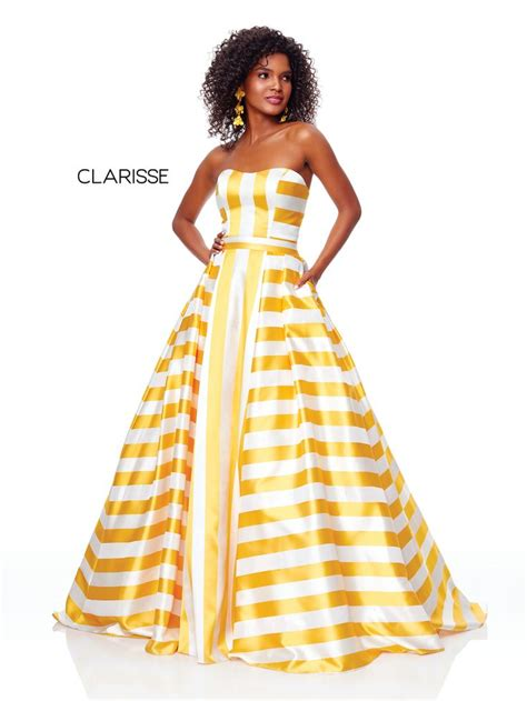 3875 - Daffodil and white striped strapless ball gown with ...