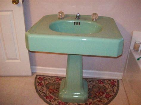 Vintage Pedestal Sink Green Cast Iron Porcelain Bath Room