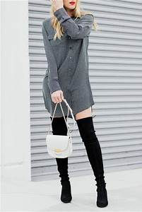 Dress tumblr grey dress shirt dress thigh high boots boots black boots fall outfits high ...