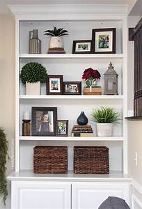 styled family room bookshelves shelving room and living With living room bookshelf decorating ideas