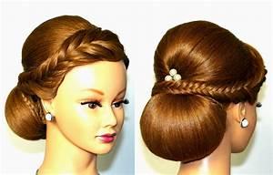 Wedding hairstyle for medium long hair, elegant updo YouTube