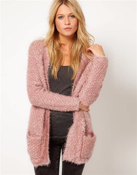 oversized pink sweater asos collection asos fluffy oversized cardigan in pink lyst
