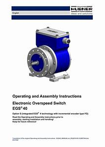 Operating And Assembly Instructions Electronic Overspeed