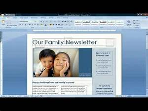 Where Can I Get Free Microsoft Word How To Create A Newsletter In Microsoft Word 2007 Youtube