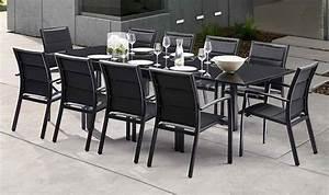Salon De Jardin Aluminium 10 Personnes : salon de jardin 10 personnes en aluminium noir ~ Dailycaller-alerts.com Idées de Décoration