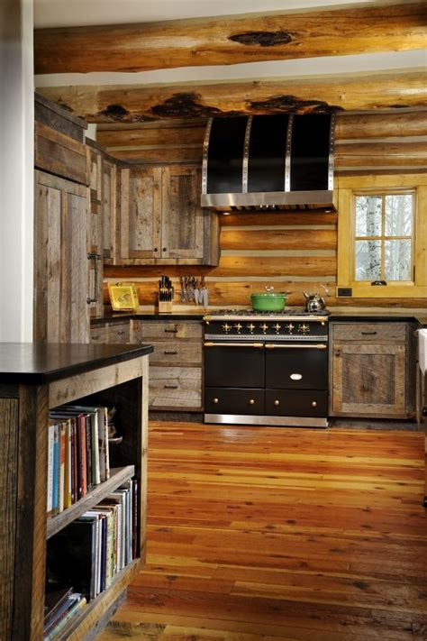 barn wood ideas kelli cabin ideas  cupboard  barns log home kitchens cabin kitchens