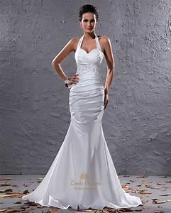 white halter neck taffeta mermaid wedding dress with With white halter wedding dress