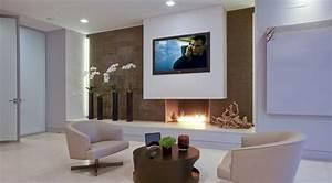 Décoration Dessus Cheminée : fixation murale tv et chemin e sur le m me mur en 39 id es ~ Voncanada.com Idées de Décoration
