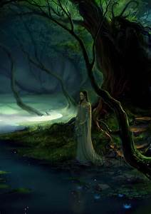 Fantasy, Forest, Tree, Fairy, Girl, Dress, Lake, Flower, Lotus, Wallpapers, Hd, Desktop, And