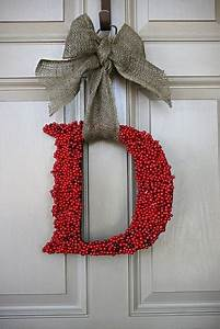 diy glued letter door decoration christmas pinterest With letter a wreath
