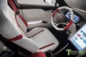White Tesla Model S 1.0 - Custom Red and White Alcantara Interior – T Sportline - Tesla Model S ...