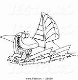 Catamaran Outline Sailing Shark Coloring Cartoon Toonaday sketch template