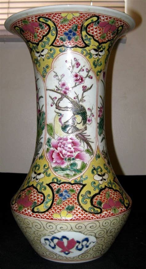 antique chinese porcelain flower bird vaseth cqing